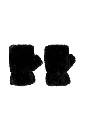Apparis Ariel Faux Fur Mittens in Black.