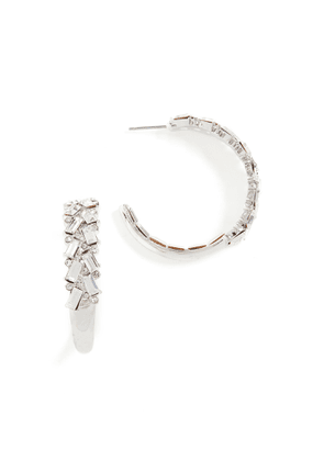 Kenneth Jay Lane Rhodium With Crystal Front Earrings