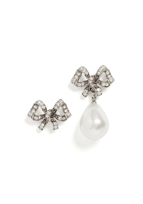 Kenneth Jay Lane Mismatch Antique Silver Crystal Bow Earrings
