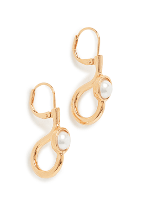 Kenneth Jay Lane Imitation Pearl Cabochon Center Drop Earrings