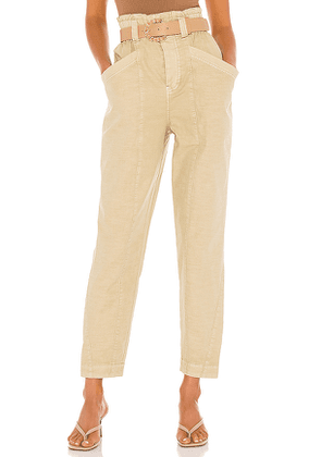 Free People Ready To Run Cinch Waist Pant in Cream. Size S.
