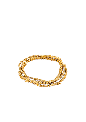 Natalie B Jewelry Bella Trois Bracelet Set in Metallic Gold.