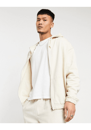 ASOS DESIGN organic oversized zip hoodie in beige