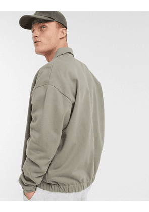ASOS DESIGN oversized harrington heavyweight jersey jacket in khaki-Green