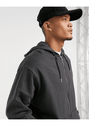 ASOS DESIGN organic oversized zip up hoodie in black