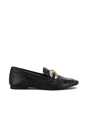 Schutz Maggy Embossed Loafer in Black. Size 6.5, 7, 7.5, 8, 8.5, 9, 9.5, 10.
