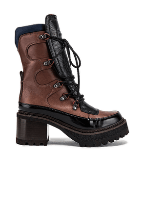See By Chloe Ivo Hiking Boot in Brown. Size 35.5, 36.5, 37, 37.5, 38, 38.5, 39.5.
