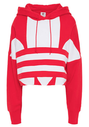 Adidas Originals Cropped Printed French Cotton-terry Hoodie Woman Red Size 32