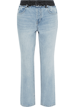 Alexander Wang Cult Duo Distressed Two-tone High-rise Straight-leg Jeans Woman Light denim Size 27