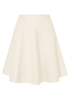 Alaïa Scalloped Jacquard-knit Skirt Woman Cream Size 42