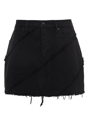 Alexander Wang Frayed Denim Mini Skirt Woman Black Size 29