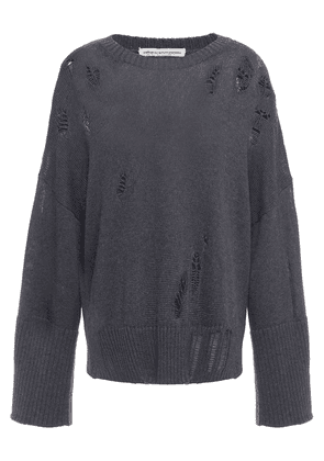 Cotton By Autumn Cashmere Distressed Cotton Sweater Woman Charcoal Size S