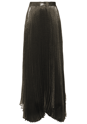 Alice + Olivia Katz Pleated Silk-blend Lamé Maxi Skirt Woman Brass Size 0