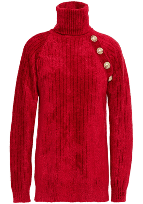 Balmain Button-embellished Ribbed Chenille Turtleneck Sweater Woman Crimson Size 36