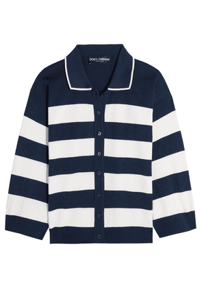 Dolce & Gabbana Striped Silk-jersey Cardigan Woman Navy Size 36
