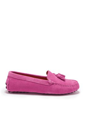 Hugs & Co Womens Tasselled Driving Loafers Pink Suede