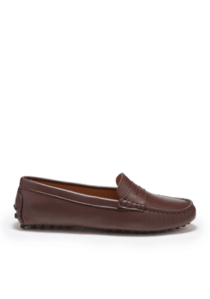 Hugs & Co Womens Penny Driving Loafers Brown Leather