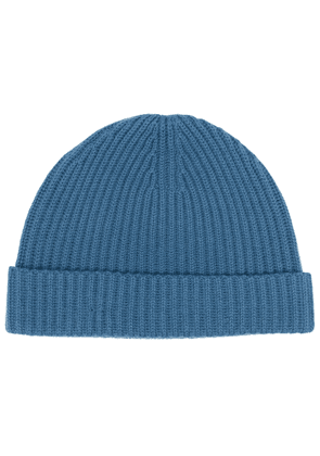 N.Peal ribbed cashmere hat - Blue