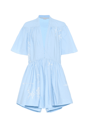 Embroidered cotton playsuit