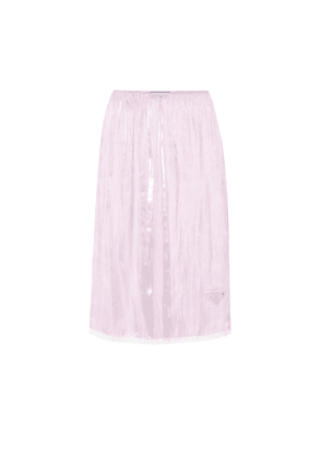 Lace-trimmed silk charmeuse skirt