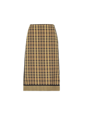 Checked cotton and silk skirt