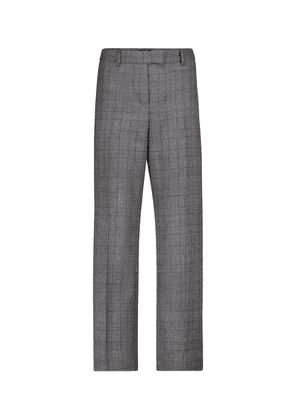 Cece checked straight wool pants