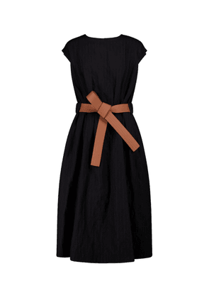 Belted wool and cotton midi dress