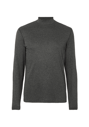 Reigning Champ - Slim-Fit Mélange Polartec Power Wool Mock-Neck T-Shirt - Men - Black