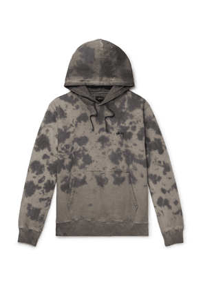 Stüssy - Logo-Embroidered Tie-Dyed Fleece-Back Cotton-Jersey Hoodie - Men - Gray