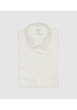 Reiss Remote Slim - Cotton Satin Slim Fit Shirt in Ivory, Mens, Size XXL