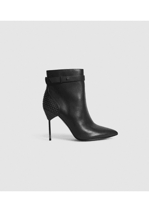 Reiss Ledbury - Studded Pin-heel Ankle Boots in Black, Womens, Size 4