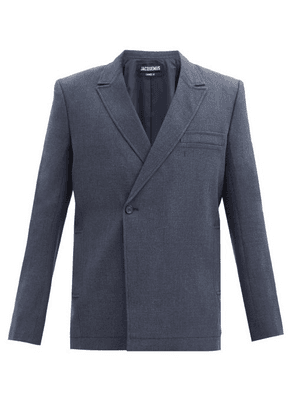 Jacquemus - Moulin Double-breasted Wool-blend Canvas Blazer - Mens - Navy