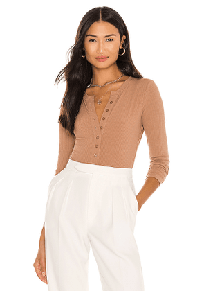 ASTR the Label Henley Bodysuit in Taupe. Size S, M, L.