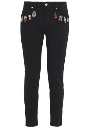 Alexander Mcqueen Embroidered Mid-rise Slim-leg Jeans Woman Black Size 25