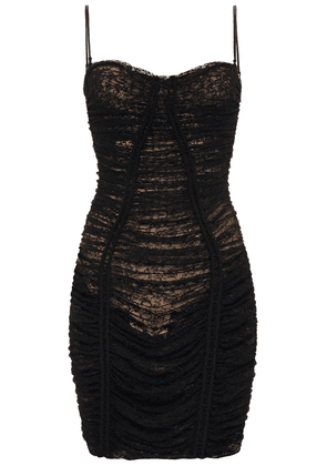 Alexander Wang Ruched Corded Lace Mini Dress Woman Black Size 2