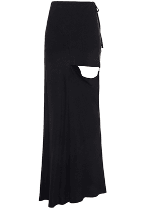 Ann Demeulemeester Cutout Twill Maxi Skirt Woman Black Size 34