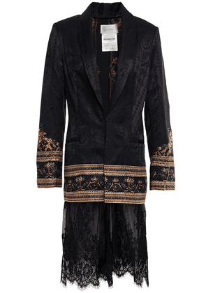Camilla Friends In Flora Embellished Lace-paneled Satin-jacquard Blazer Woman Black Size S