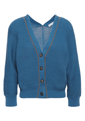 Brunello Cucinelli Bead-embellished Ribbed Cotton Cardigan Woman Blue Size XS