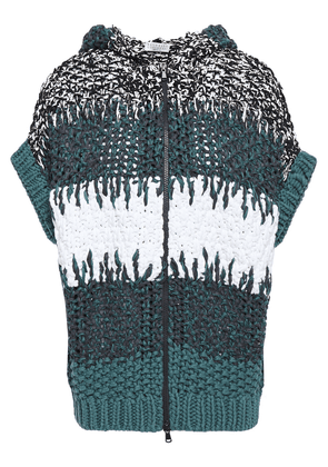 Brunello Cucinelli Sequin-embellished Open-knit Hooded Sweater Woman Teal Size M