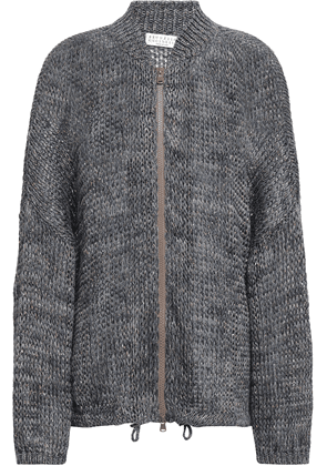 Brunello Cucinelli Metallic Linen-blend Cardigan Woman Storm blue Size XS