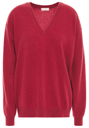 Brunello Cucinelli Bead-embellished Cashmere Sweater Woman Crimson Size XS