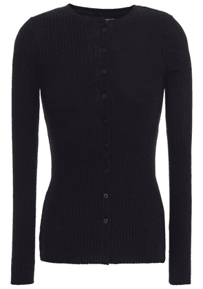 Enza Costa Ribbed Cotton And Cashmere-blend Cardigan Woman Black Size XS