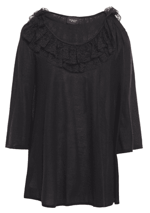 Giambattista Valli Lace-trimmed Ruffled Cashmere And Silk-blend Sweater Woman Black Size 42