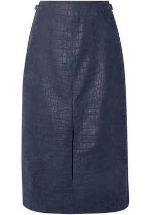 Gabriela Hearst Morelos Croc-effect Leather Skirt Woman Navy Size 38