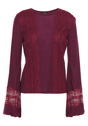 Giambattista Valli Lace-trimmed Cashmere And Silk-blend Top Woman Burgundy Size 44