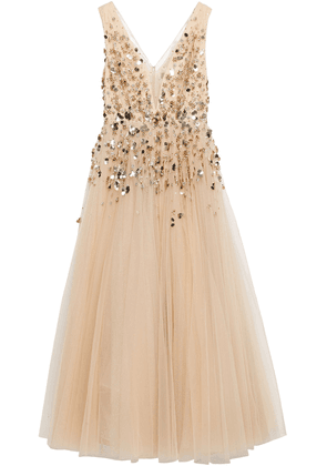 Jenny Packham Embellished Glittered Tulle Gown Woman Gold Size 14