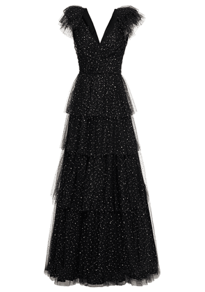 Jenny Packham Tiered Sequined Tulle Gown Woman Black Size 16