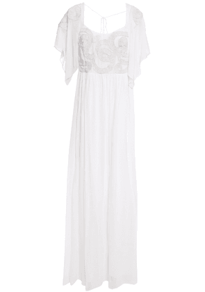 Just Cavalli Open-back Embroidered Chiffon Gown Woman White Size 40