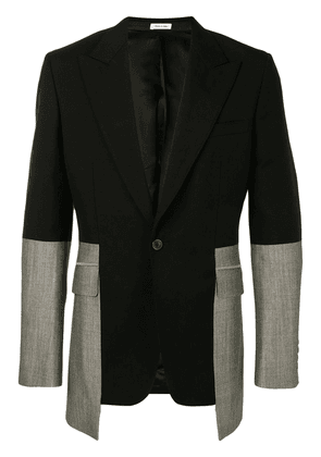 Alexander McQueen two-tone single-breasted suit jacket - Black
