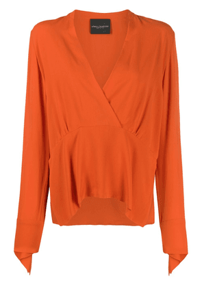 Erika Cavallini satin drop dart blouse - ORANGE
